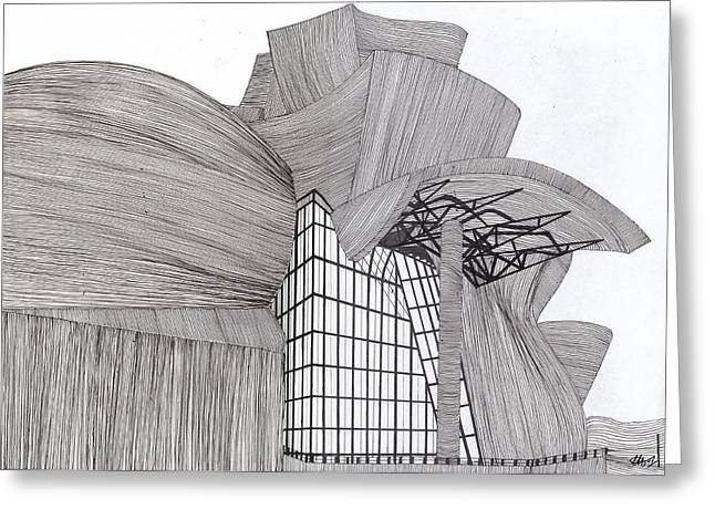 Recently Sold -  - White Drawings Greeting Cards - Guggenheim-Bilbao Greeting Card by Laura Hol Art