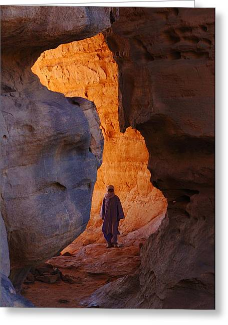 21st Greeting Cards - Guide in desert canyon, Algerian Sahara Greeting Card by Science Photo Library