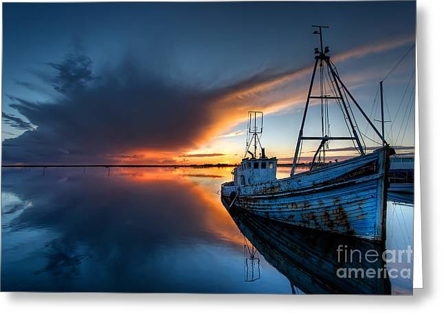 Prawn Boat Greeting Cards - Guided By The Light Greeting Card by English Landscapes