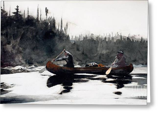 Canoe Greeting Cards - Guides Shooting Rapids Greeting Card by Winslow Homer