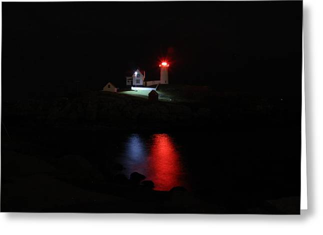 Cape Neddick Greeting Cards - Guiding Light Greeting Card by Alicia Sprowl