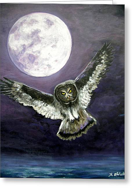 Birds In Flight At Night Greeting Cards - Great Grey Owl of The Guiding Light Greeting Card by Amy Scholten