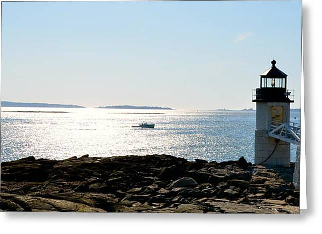 New England Ocean Greeting Cards - Guiding Light Greeting Card by Corinne Rhode