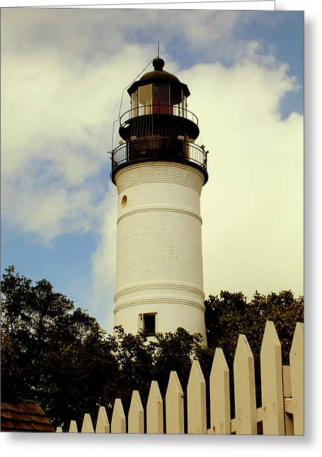 Guiding Light Greeting Cards - Guiding Light of Key West Greeting Card by Karen Wiles