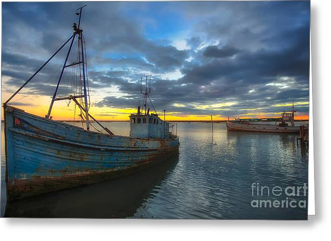 Rio Formosa Greeting Cards - Guiding Light Wreck Sunset Greeting Card by English Landscapes
