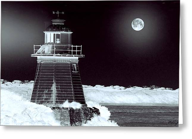 Moon Beach Digital Art Greeting Cards - Guiding Lights Greeting Card by Holly Kempe
