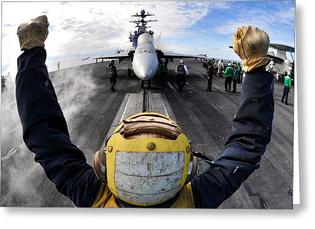 Naval Aircraft Greeting Cards - Guiding the Hornet Greeting Card by Mountain Dreams