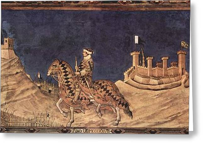 Knights Castle Paintings Greeting Cards - Guidoriccio da Fogliano at the siege of Montemassi Greeting Card by Simone Martini