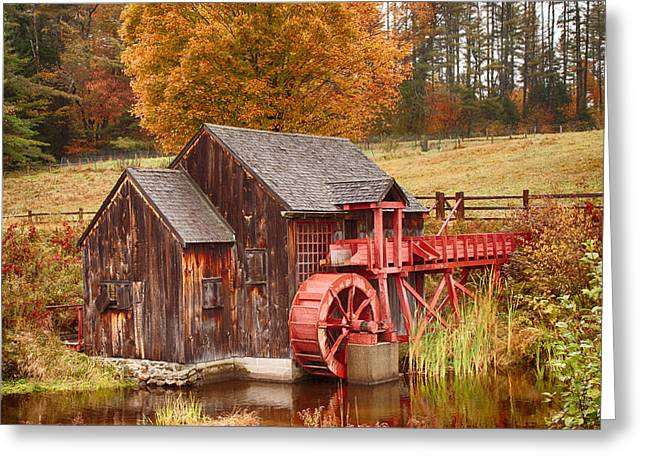 Photos Of Autumn Digital Greeting Cards - Guildhall grist mill Greeting Card by Jeff Folger