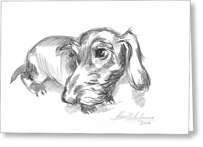 Conte Pencil Drawings Greeting Cards - Guilty-looking young wire-haired dachshund Greeting Card by Alena Nikifarava