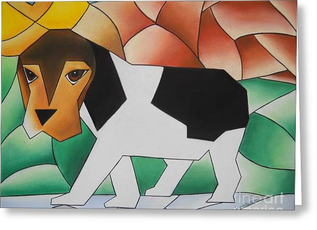Puppies Pastels Greeting Cards - Guilty Greeting Card by Sonya Walker