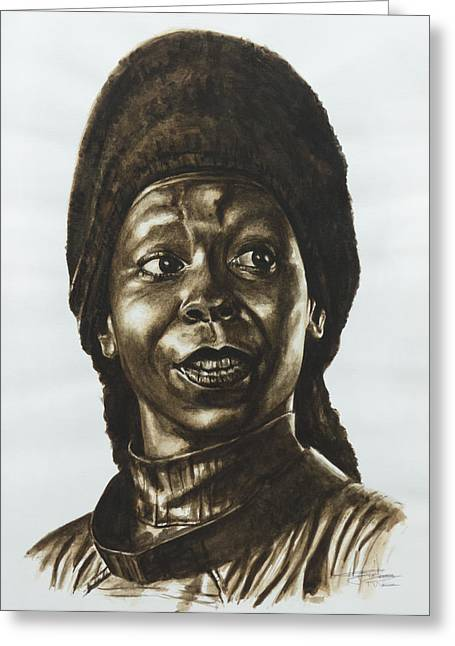 Roddenberry Paintings Greeting Cards - Guinan Star Trek TNG Greeting Card by Giulia Riva