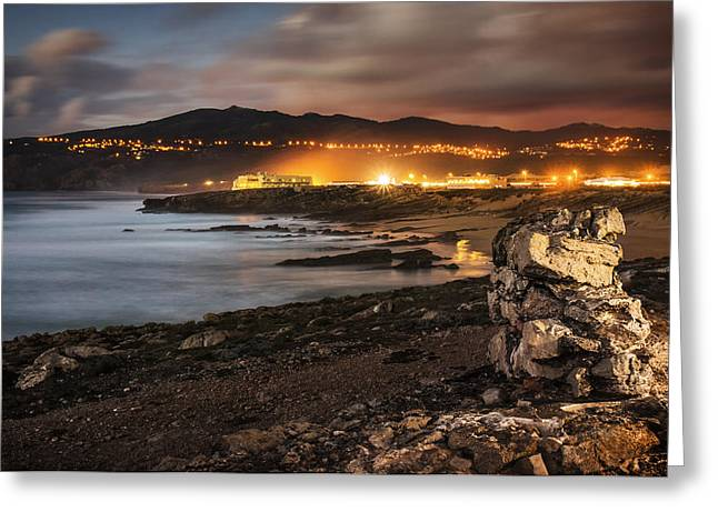 Touristic Greeting Cards - Guincho at Dusk Greeting Card by Carlos Caetano