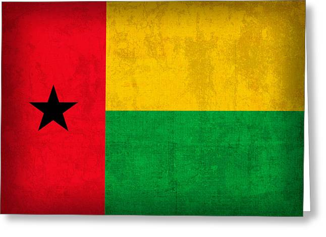 National Mixed Media Greeting Cards - Guinea Bissau Flag Vintage Distressed Finish Greeting Card by Design Turnpike