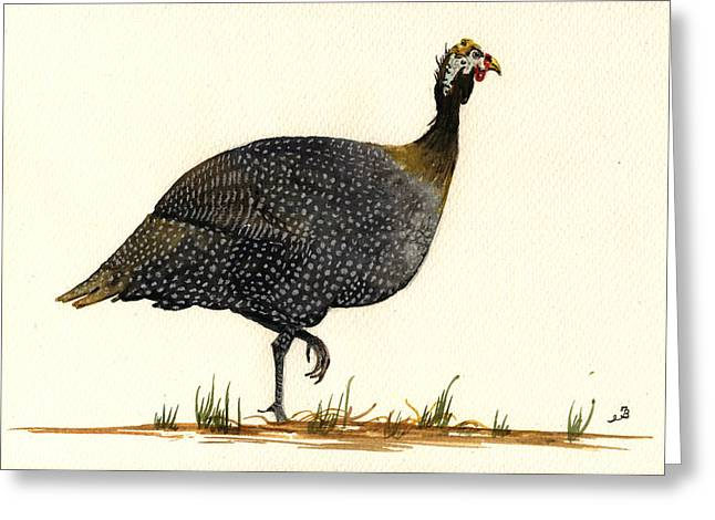 Cocks Greeting Cards - Guinea fowl Greeting Card by Juan  Bosco