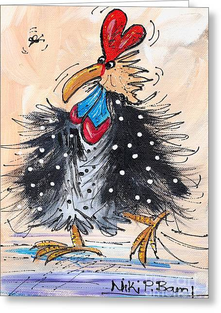 Porridge Greeting Cards - Guinea fowl Greeting Card by Niki P Bam