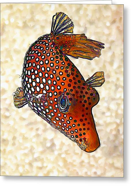 Sea Of Cortez Greeting Cards - Guinea Fowl Puffer Fish Greeting Card by Bill Caldwell -        ABeautifulSky Photography