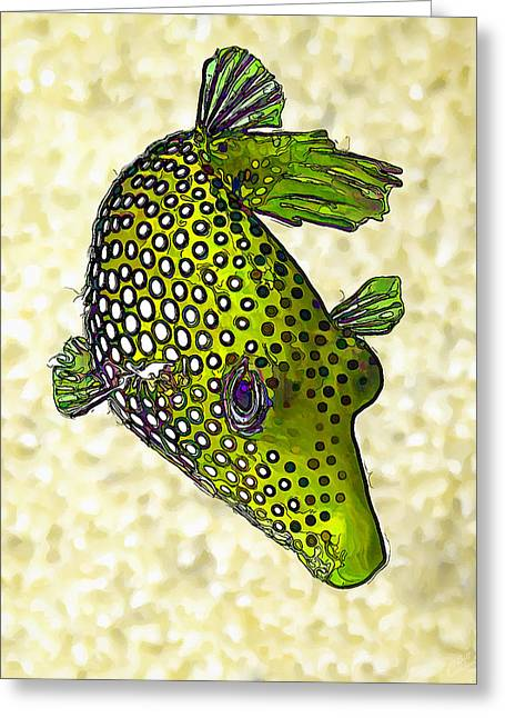 Sea Life Digital Art Greeting Cards - Guinea Fowl Puffer Fish in Green Greeting Card by Bill Caldwell -        ABeautifulSky Photography