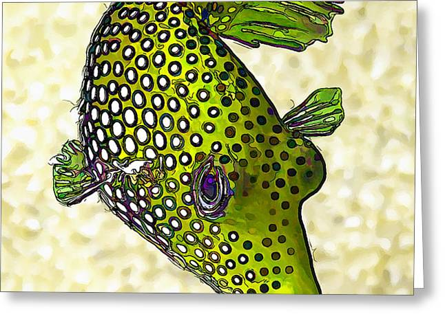 Guinea Fowl Puffer Fish in Green Greeting Card by Bill Caldwell -        ABeautifulSky Photography