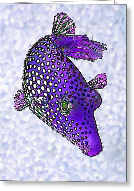 Sea Life Digital Art Greeting Cards - Guinea Fowl Puffer Fish in Purple Greeting Card by Bill Caldwell -        ABeautifulSky Photography
