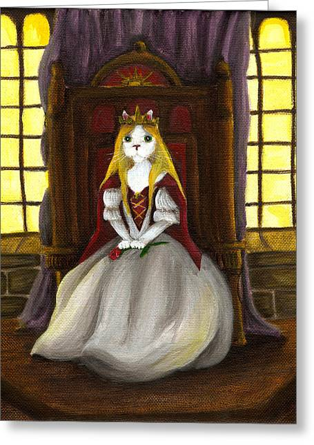 Guinevere Paintings Greeting Cards - Guinefurre Cat Queen Greeting Card by Tara Fly