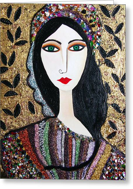 Guinevere Paintings Greeting Cards - Guinevere dressed in gems Greeting Card by Karen Serfinski