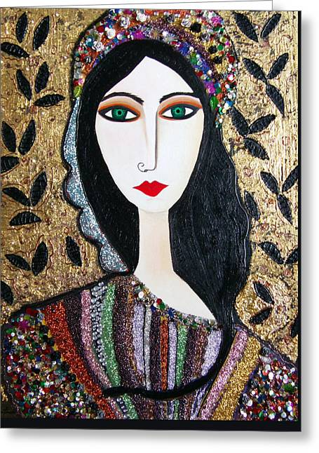 Guinevere Greeting Cards - Guinevere dressed in gems Greeting Card by Karen Serfinski