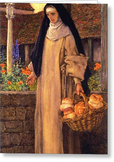 Black Scarf Greeting Cards - Guinevere Greeting Card by Eleanor Fortescue Brickdale