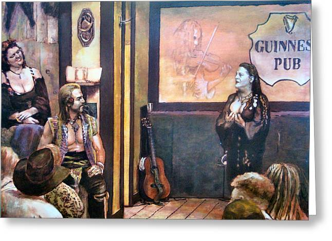 Figurs Greeting Cards - Guinnes Pub Greeting Card by Angelo Antonnicola