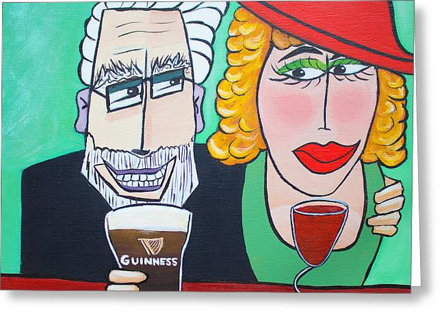 Old Man With Beard Greeting Cards - Guinness Man With The Woman Of His Dreams Greeting Card by Barbara McMahon