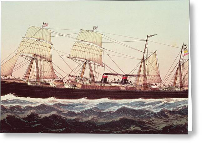 Seascape Drawings Greeting Cards - Guion Line Steampship Arizona of the Greyhound Fleet Greeting Card by Currier and Ives