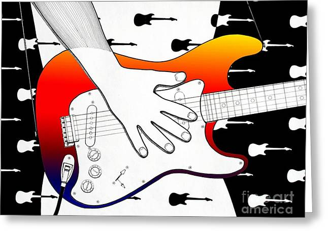 Stratocaster Drawings Greeting Cards - Guitar 1 Greeting Card by Joseph J Stevens