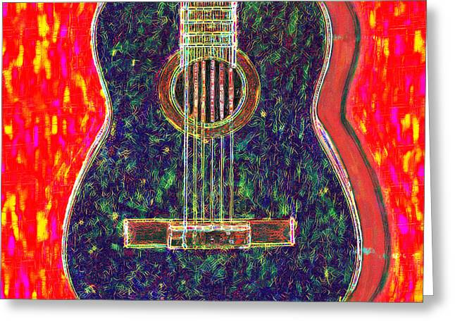 Punk Rock Music Greeting Cards - Guitar - 20130123v1 Greeting Card by Wingsdomain Art and Photography