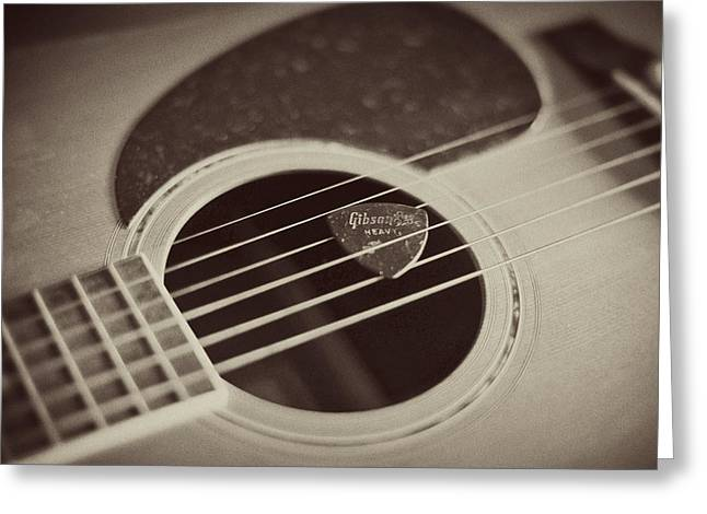 Kitchen Photographs Greeting Cards - Guitar and Pick Greeting Card by Terry DeLuco