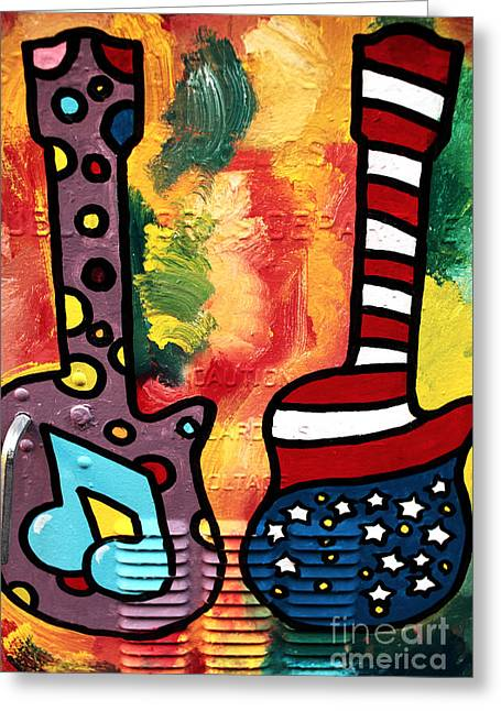 Still Life Photographs Greeting Cards - Guitar Art Greeting Card by John Rizzuto