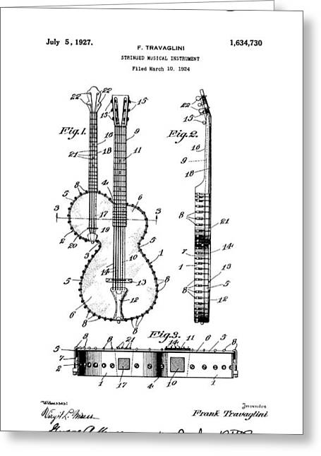 Historical Blueprint Greeting Cards - Guitar Banjo Patent Art  1927 Greeting Card by Daniel Hagerman