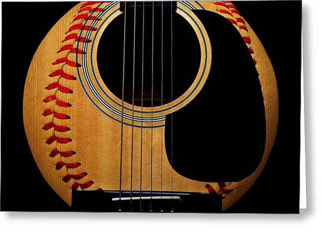 Baseball Art Greeting Cards - Guitar Baseball Square Greeting Card by Andee Design