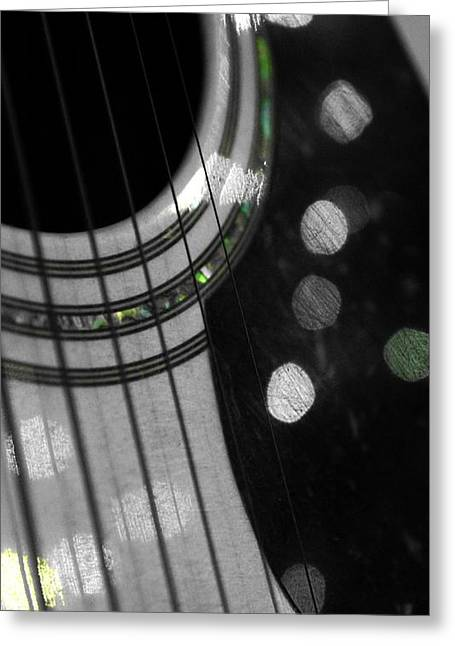 Guitar Stings Greeting Cards - Guitar Bokeh Reflection Greeting Card by Nalinne Jones