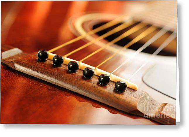 Classic Saddle Greeting Cards - Guitar bridge Greeting Card by Elena Elisseeva