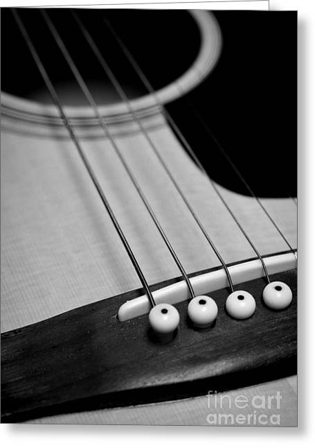 """six String"" Greeting Cards - Guitar Bridge in Black and White Greeting Card by Paul Ward"