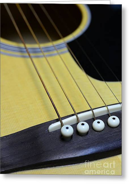 """six String"" Greeting Cards - Guitar Bridge Up Close and Personal Greeting Card by Paul Ward"