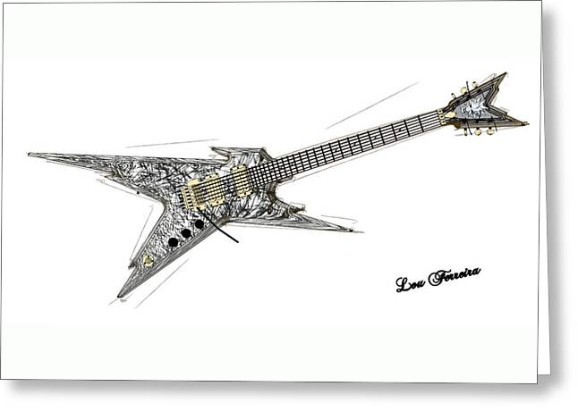 Guitar Pictures Greeting Cards - Guitar BW Greeting Card by Louis Ferreira