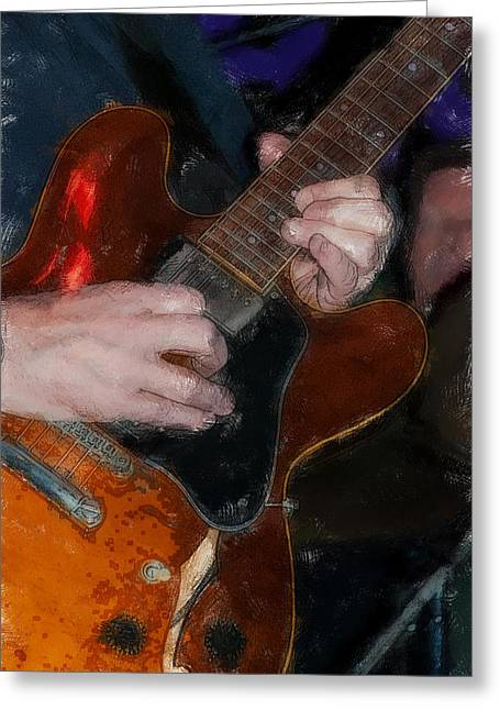 """""""fret Board"""" Greeting Cards - Guitar Color Drawing Greeting Card by David Lange"""