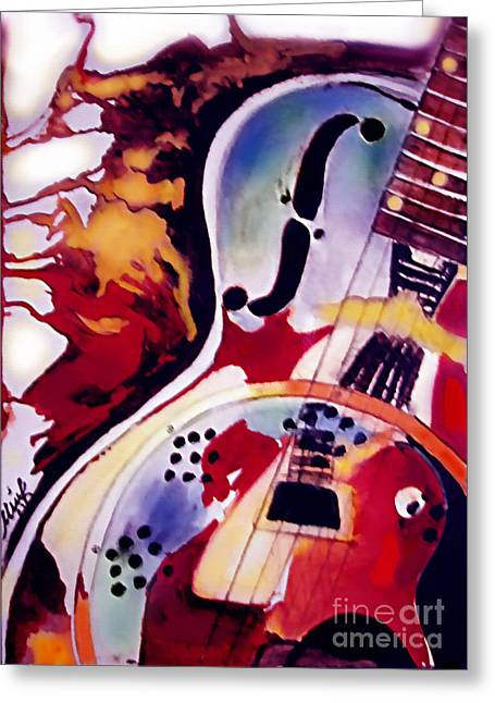 Acoustic Guitar Greeting Cards - Guitar Flow Greeting Card by Melanie D