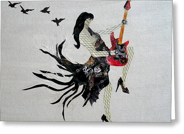 Steampunk Girl Girls With Guitars Collage Painting Greeting Card by Holly Anderson