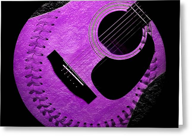 Baseball Art Digital Art Greeting Cards - Guitar Grape Baseball Square Greeting Card by Andee Design