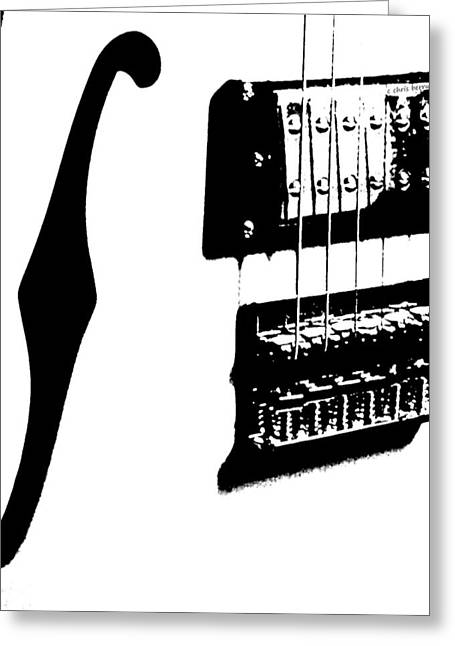 Hardware Greeting Cards - Guitar Graphic in Black and White  Greeting Card by Chris Berry