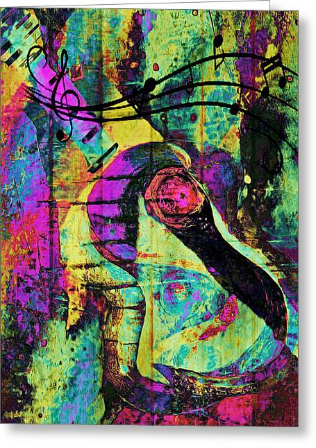 Improvisation Mixed Media Greeting Cards - Guitar Improvisation Greeting Card by Catherine Harms
