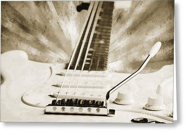 Guitar Case Greeting Cards - Guitar in Flight Painting Photograph in Sepia 3316.01 Greeting Card by M K  Miller