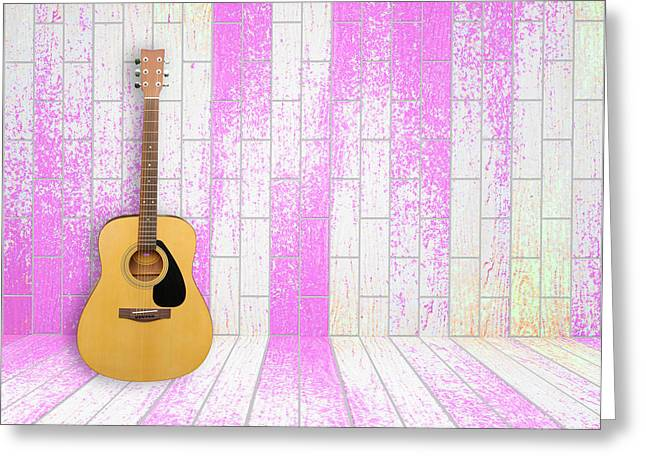 Equipment Pyrography Greeting Cards - Guitar in old room background Greeting Card by Thanapol Kuptanisakorn